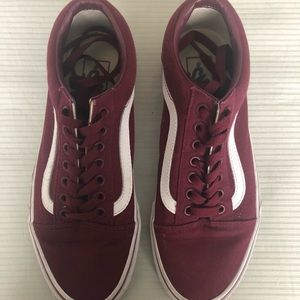 Burgundy Vans Old Skool Size Women's 8.5 Men's 7